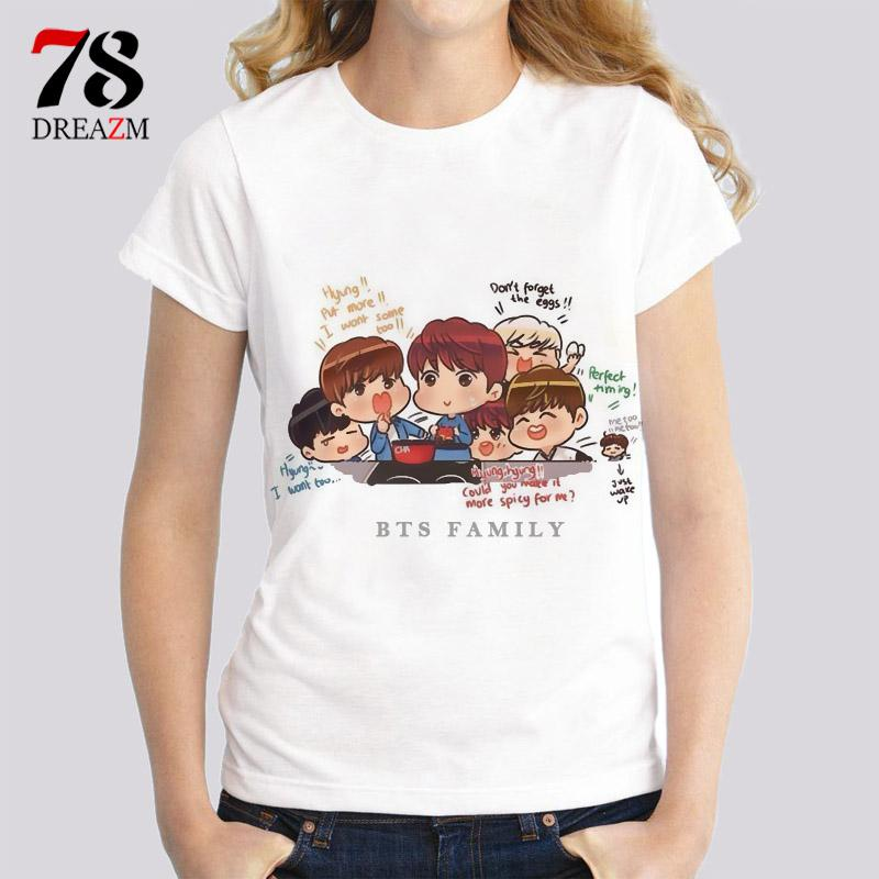 Wholesale- 2017 t-shirt BTS kpop v suga jung kook jimin jin jhope k-pop female t shirt Streetwear High quality women tops tees