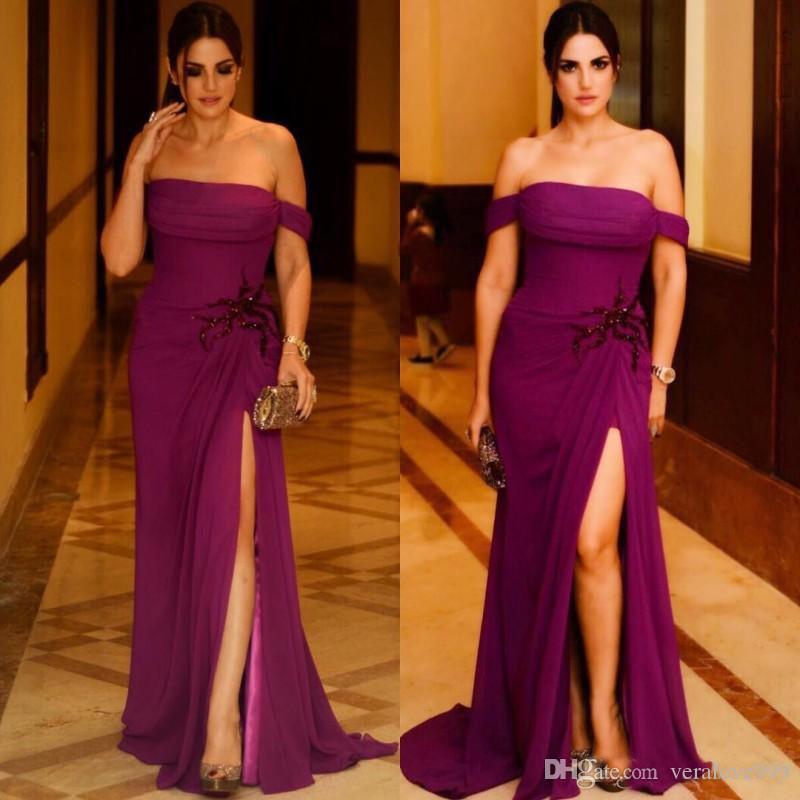 Elegant Off The Shoulder Evening Dress High Split Side Prom Gowns ...