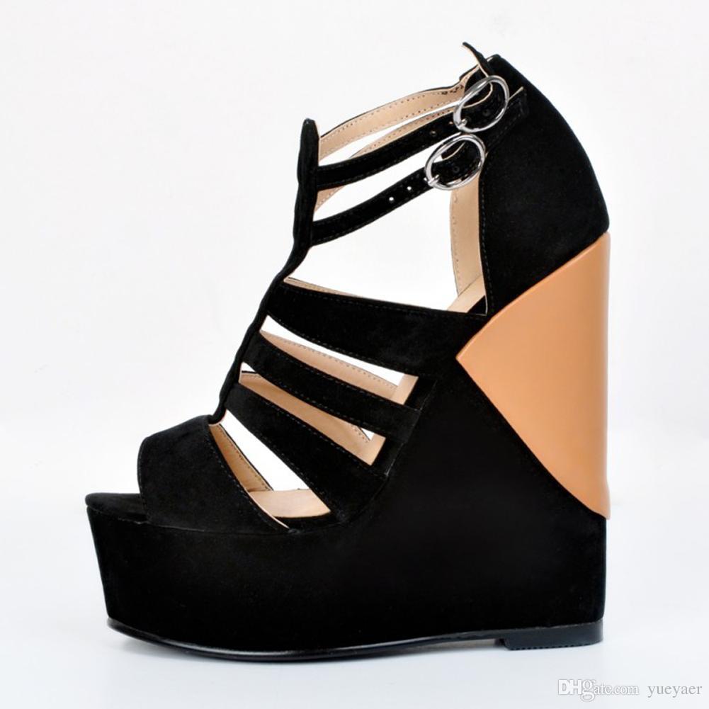 Zandina Womens Fashion Handmade 15cm römischen Stil Patchwork Wadge High Heel Peep-Toe Sandalen Schuhe schwarz XD075