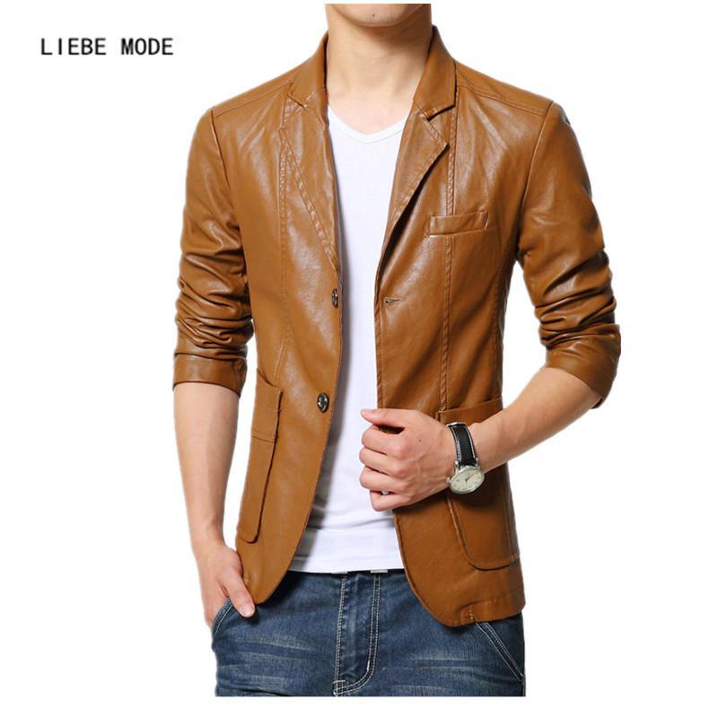 2019 Wholesale 2017 Brand Male Leather Jacket Men Brown Black Plus