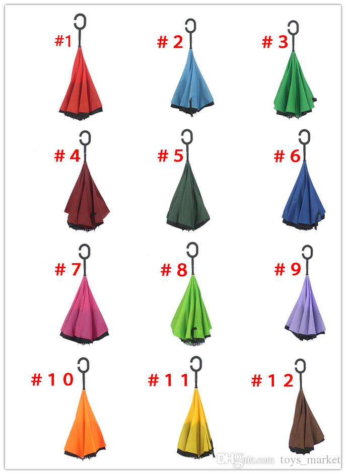 2016 Inverted Umbrella Double Layer Reverse Rainy Sunny Umbrella with C Handle Self Standing Inside Out Special Design 38 Colors