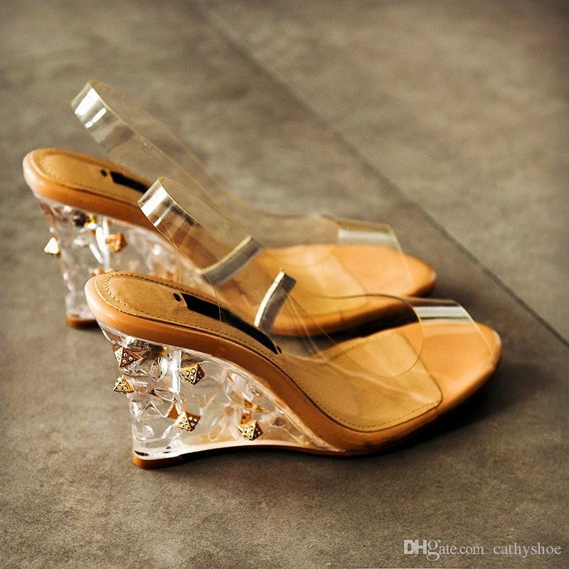 2017 Best Selling Pvc Transparent Shoes Women Clear Crystal Wedge ...