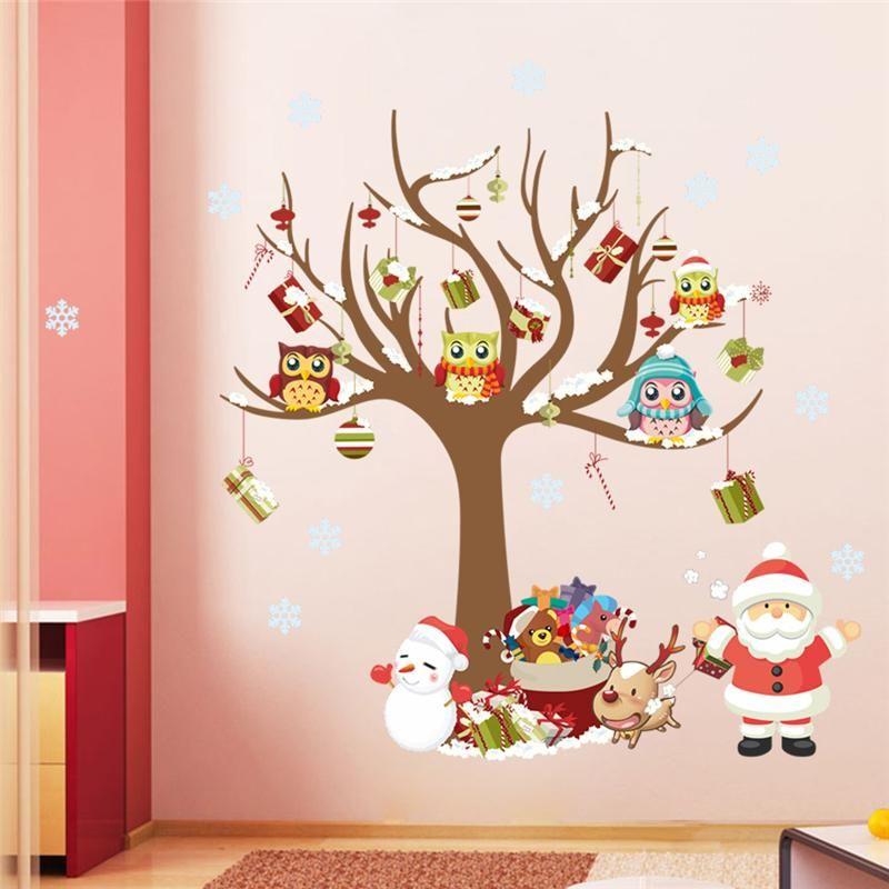 Wholesale Christmas Wall Stickers Room Decor Cartoon Tree Snowman Santa  Claus Reindeer Mural Art Home Decals Posters 1222. 5.0 Dinosaur Wall Decals  Dinosaur ...