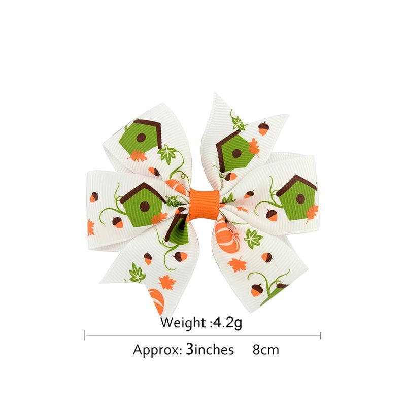 3 inch Baby Halloween Barrettes Grosgrain Ribbon Bows WITH Clip Girls Kids Ghost Pumpkin Children Girl Pinwheel Hair Clips Hairpin Accessories KFJ105