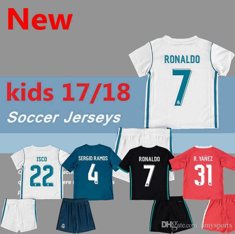 5a00f22dfcd ... jersey isco 22 d082c b2e00  france 20172018 kids real madrid soccer  jerseys new font 1718 ronaldo white black james bale ramos