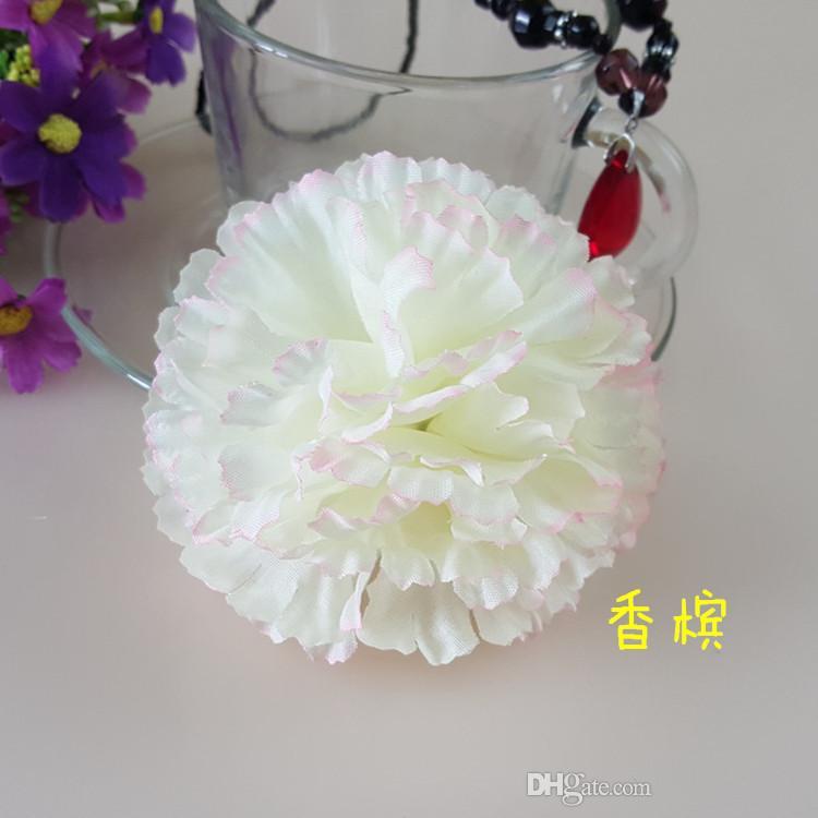 9CM Artificial Carnation Decorative Silk Flower Head For DIY Mother's Day Flower Bouquet Home Decoration Festival Supplies Party Deco