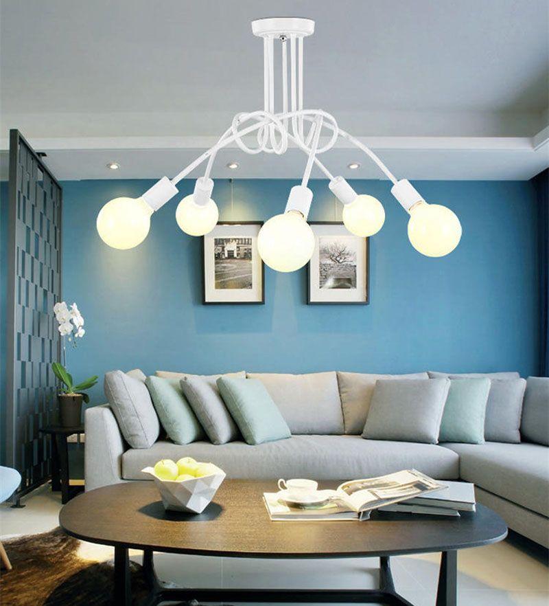 Vintage Industrial Loft Kronleuchter Deckenleuchte Einfache Indoor Lampe Schwarz / Weiß