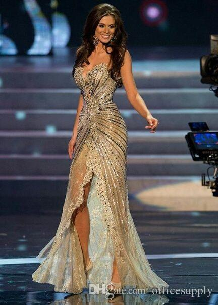 Vestido Miss Universo Zuhair Murad Arabic Prom Pageant Dress Mermaid Gold side slit Crystal Beaded Lace Tulle Celebrity Evening Gowns