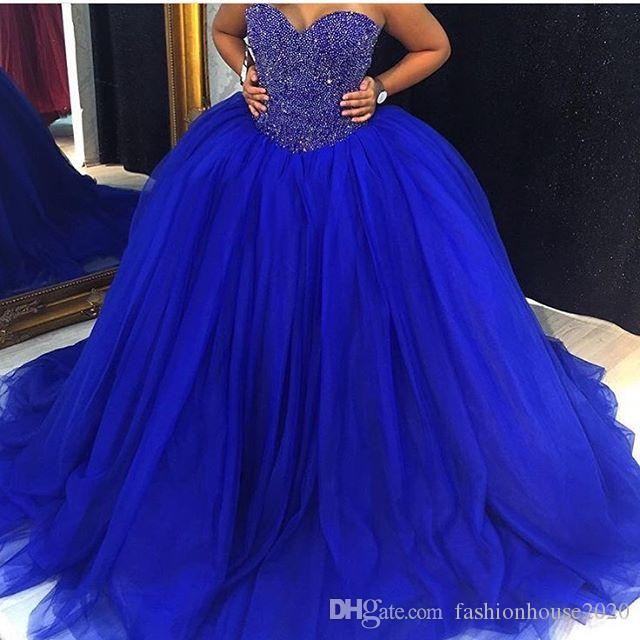 6b64440003b 2017 New Cheap Royal Blue Puffy Tulle Ball Gown Wedding Dresses Bridal  Gowns Sweetheart Crystal Beaded Plus Size Quinceanera Dresses Custom Ball  Gowns Lace ...