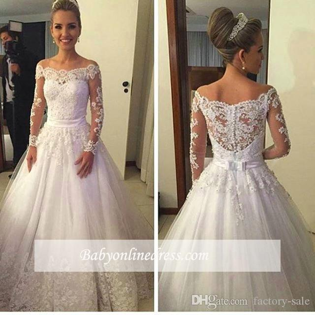 8b0c195addbe9 Discount Vintage Off Shoulder Long Sleeves Wedding Dresses 2017 Lace  Appliqued A Line Bow Sash With Buttons Sweep Train Bridal Gowns Top Quality  Wedding ...