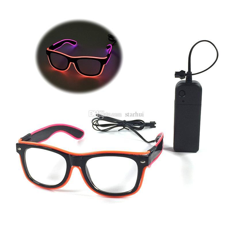 LED 파티 조명 안경 패션 EL 2 색 빛나는 안경 크리스마스 생일 할로윈 네온 파티 바 의상 장식 용품 WX - G13