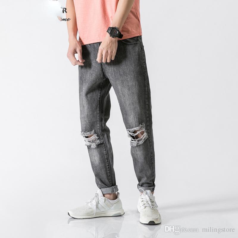 Acquista Brand Jeans Strappati Alla Caviglia Jeans Uomo Moda Grigio Denim  Slim Fit Jeans Strappati Uomo Pantaloni Morbidi Jeans Jean A  37.2 Dal  Milingstore ... c3054e9e3194