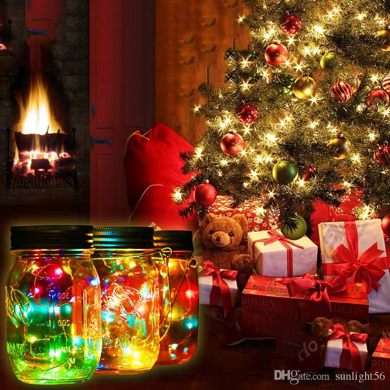 2020 Christmas Gifts Party Garden Decoration Solar Mason Jar Lid Insert Colorful White Led Light For Glass Jars Christmas Decor From Sunlight56 2 92 Dhgate Com