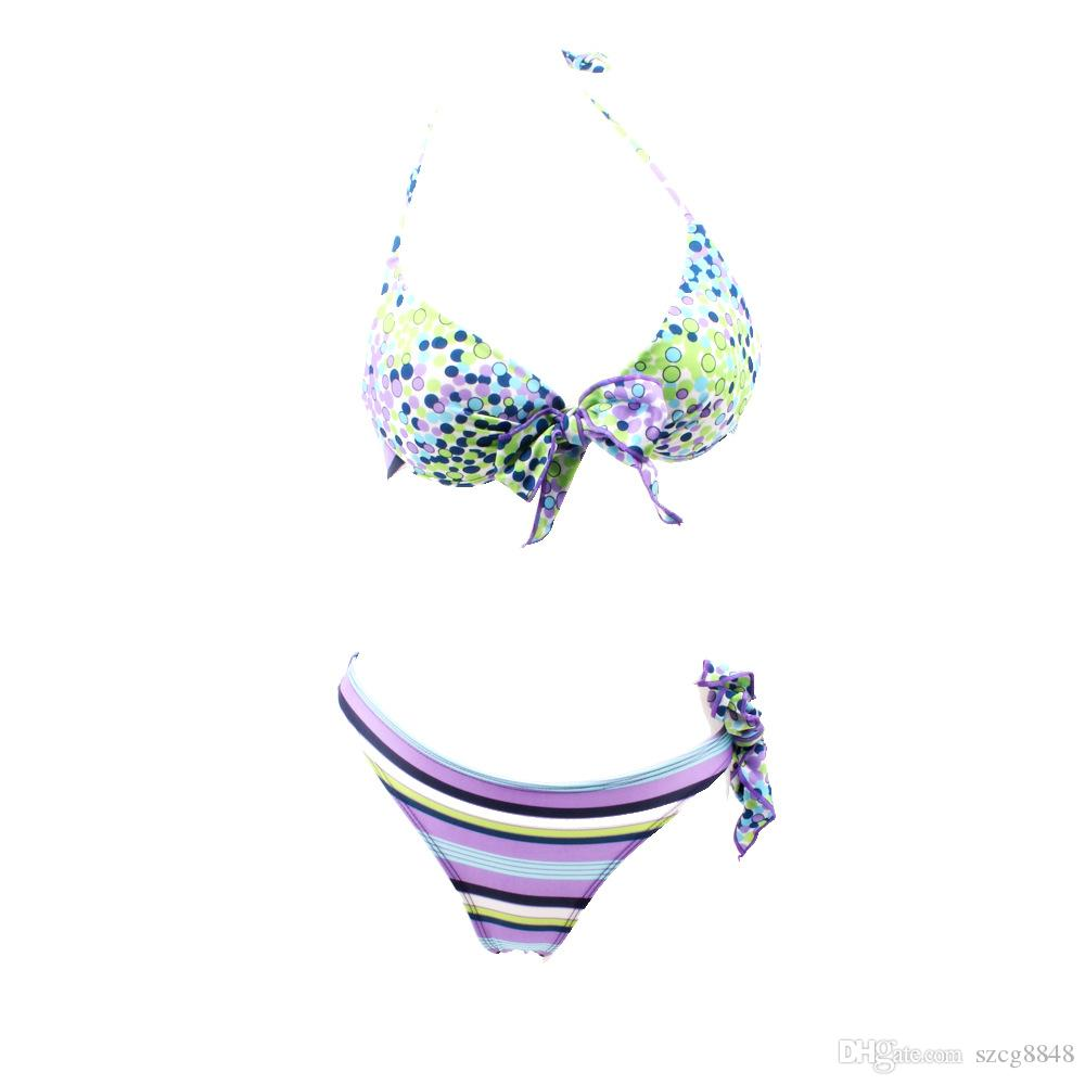 Spot broken beautiful bowknot bikini female small chest thickening steel bracket together swim suit fission shipping