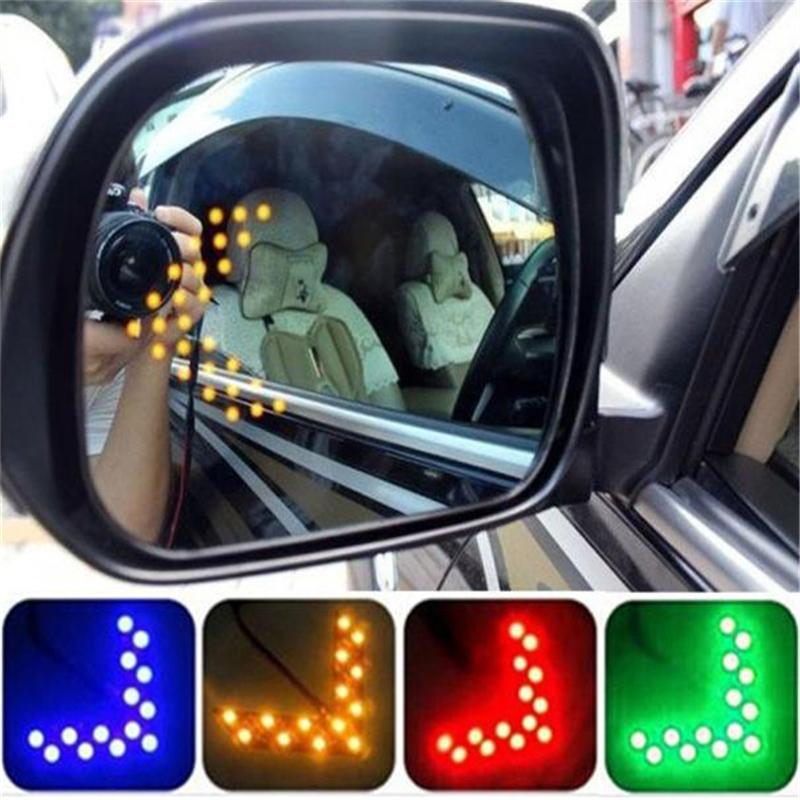 Universal Car Amber Arrow Panel Yellow 14 SMD LED Car Side Mirror Rear View Indicator Turn Signal Light Lamp