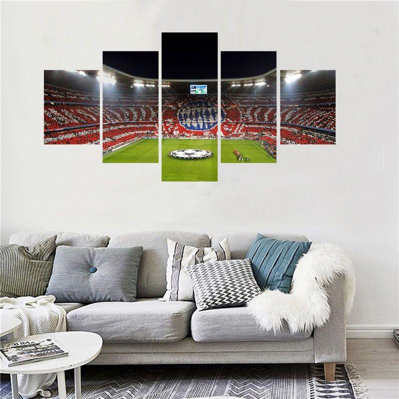 5 Panel Fußball Spielplatz World Cup Gemälde Wohnzimmer Fußball Fan Bilder Wohnkultur Wandkunst Leinwand Poster Und Drucke