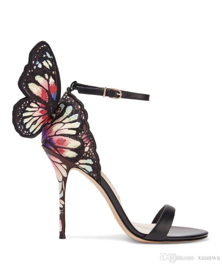 sophia webster Webster Butterfly Sandals Fashion Evangeline Angel-wing Sandals High Heeled Stiletto Ankle Strap Lady Sandals size 34-42