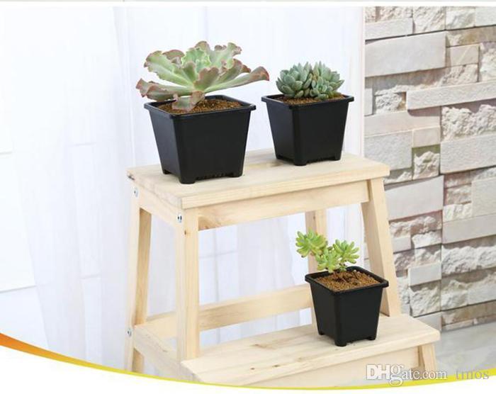 Wholesale Black Square Nursery Garden Succulent pots for Indoor Room Bonsai Planting mini flower pot supplies various style pots option