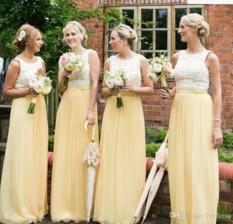 2017 Western Country Garden Light Yellow Bridesmaid Dresses A Line ...