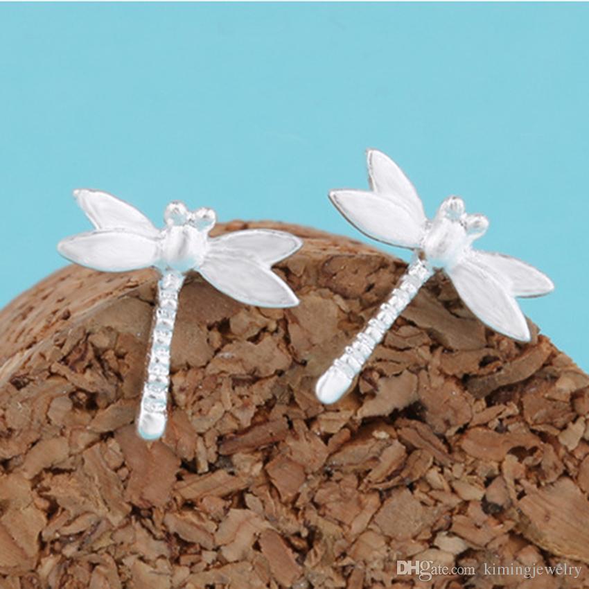 es / Mode Réel Pur 925 Sterling Argent Élégant Libellule Boucles D'oreilles Femmes Déclaration Bijoux Pendientes Brincos