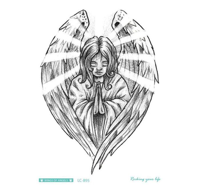 Wholesale Sexy Product Waterproof Temporary Tattoos Sticker Black Angel Design Fake Tattoo Water Transfer Tattoo Stickers for men 21*15CM