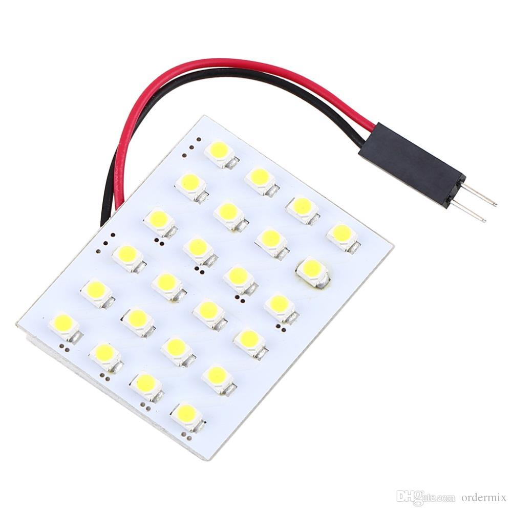 DC 12V LED Reading Panel T10 BA9S Foon 3 Adapters 24 SMD 5050 White Car Interior Dome Light