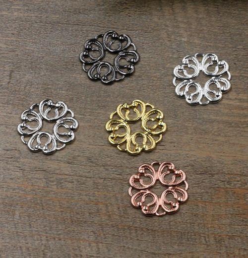 20mm antique bronze/silver/rose gold/gun black Copper filigree flower charms for jewelry making, vintage metal bracelet pendants findings