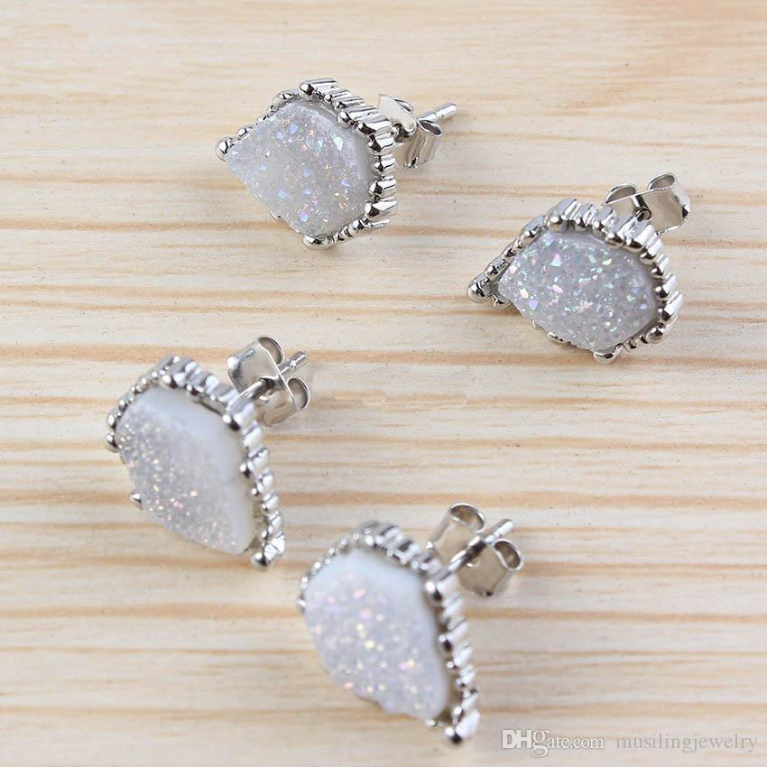 Gioielli di gioielleria Orecchini druzy in cristallo naturale Orecchini a forma irregolare Orecchini in argento placcato oro Accessori orecchini Gioielli le donne