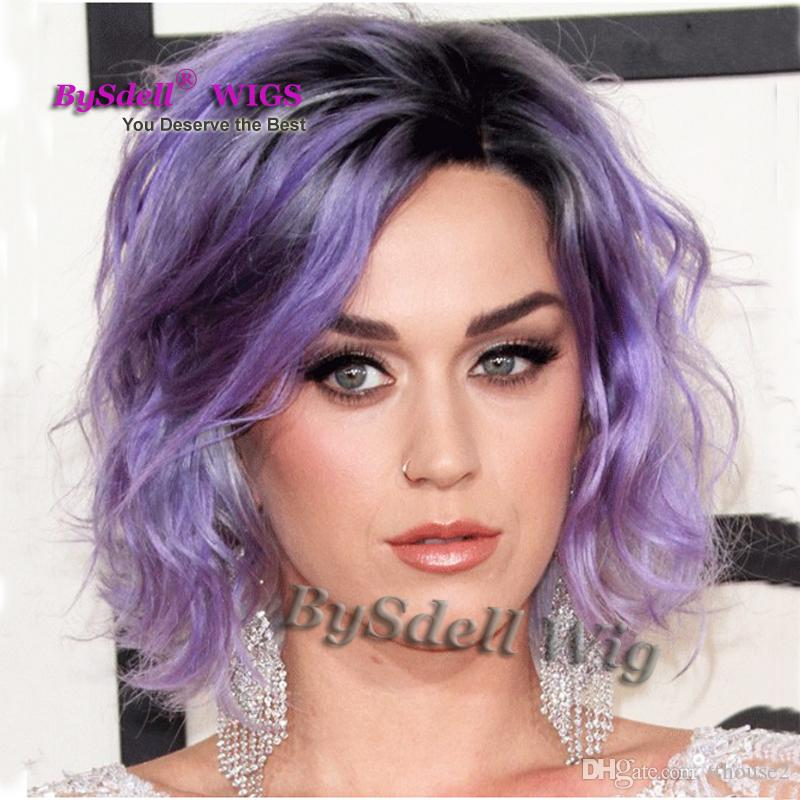 Glam Celebrity Katy Perry Hairstyle Wig Synthetic Short Wavy Two Tone Black Root Ombre Patel Purple Color Hair Wigs