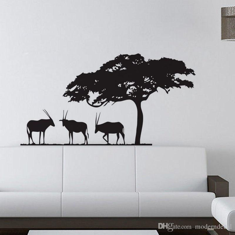 African Safari Wall Stickers Decoration Waterproof Self Adhesive - Vinyl wall decals animals