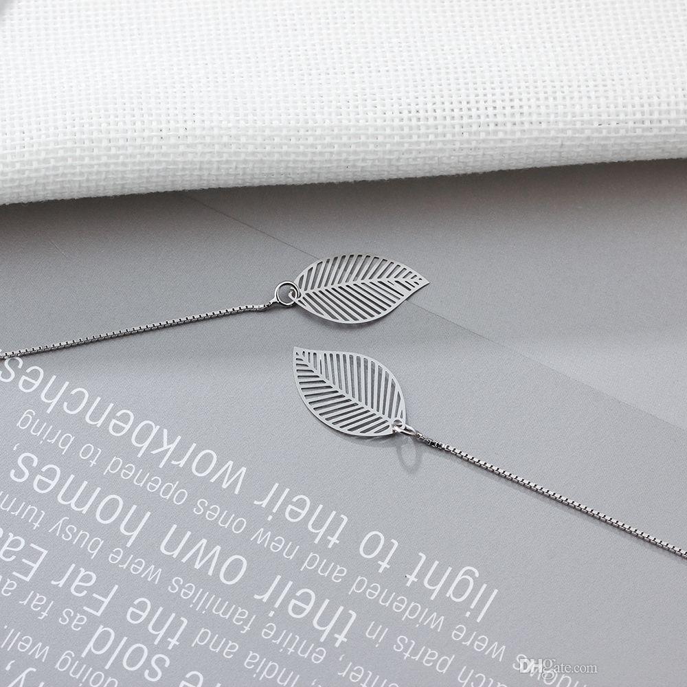 925 Sterling Silver Leave Shape Drop Earrings Fashion Long Chain Design Earrings Womens Dangle Chandelier Earrings