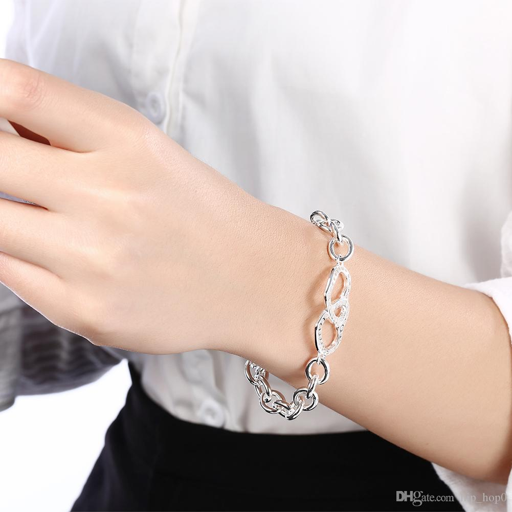 925 Sterling Silver Plated Rolo Chain Bracelet Double Heart Charms Bracelet Bangle Fashion Silver Jewelry Romantic Gift Noble Women Bracelet