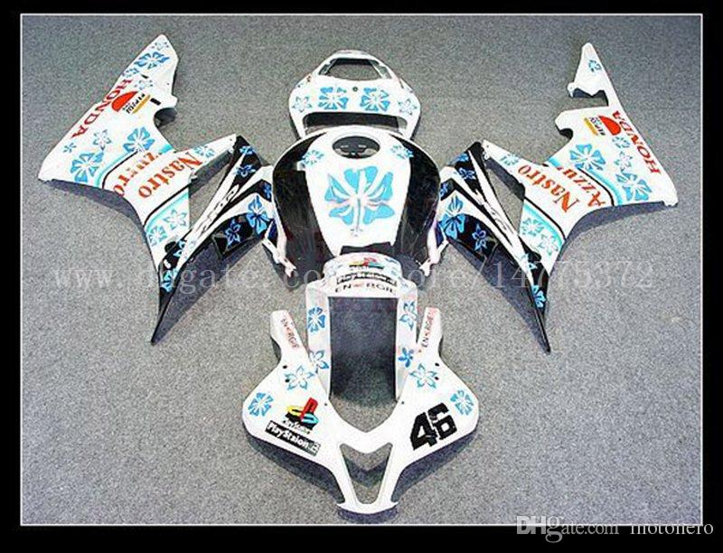 Injection CBR600RR F5 2007-2008 Fairings+tank for HONDA CBR600 RR 07-08 CBR600 RR 2007 2008 F5 fairing kits #9v7j3 white blue flower