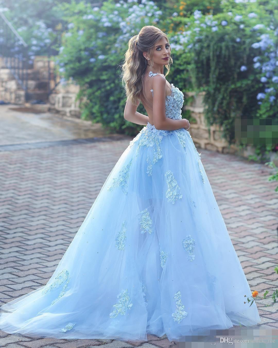 Sky Blue Princess Prom Kleider Lange Sheer Ausschnitt Spitze Appliques Tüll A Line Promi Abendkleider Sheer Zurück Sexy Party Kleider