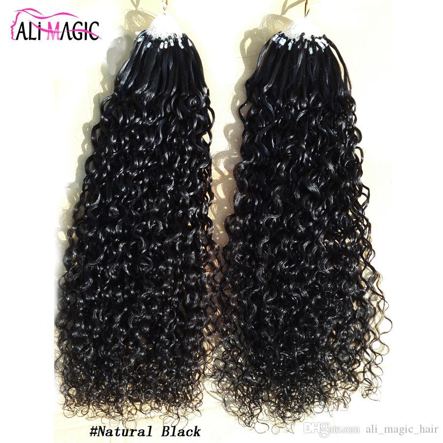 9A Micro Anneau Extensions de Cheveux 100% Cheveux Humains Vierge Bouclés Micro Extensions de Cheveux En Boucle Naturel Noir 100G Usine Ventes Directes