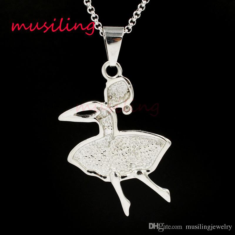 Monili di musiling Ballerina Ballerina in acciaio inox Collana pendenti con catene Charms Reiki Amulet Fashion Charms Gioielli le donne