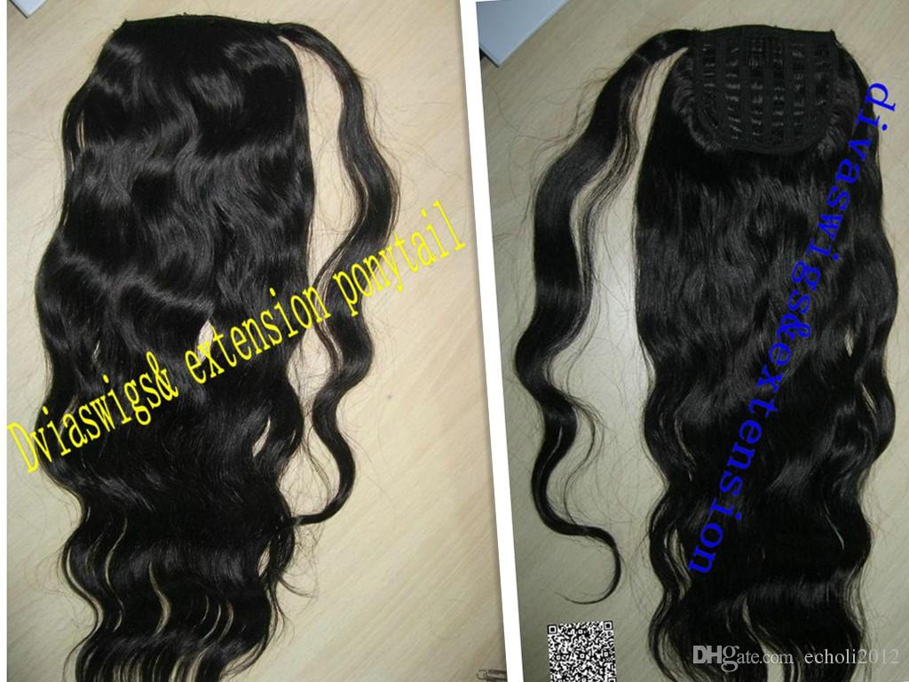 Loose wavy clip in Ponytails Brazilian human real hair 140g wavy curly clip ponytail natural hair extensions jet black for black women