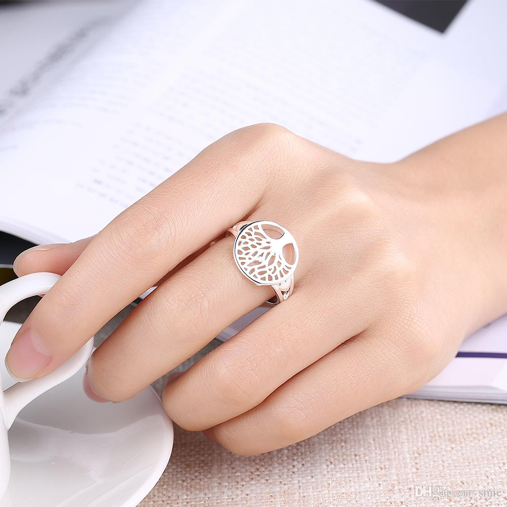Fashion Tree of life Ring Accesorios clásicos 925 Anillos de corazón de plata esterlina plateada Hollow Life Tree para mujeres