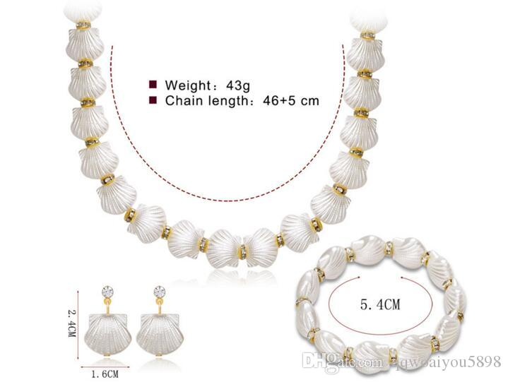 Unique Lady Shell Choker Earrings Wristband 3 pezzi un set semplice moda Ear Studs collana bracciale