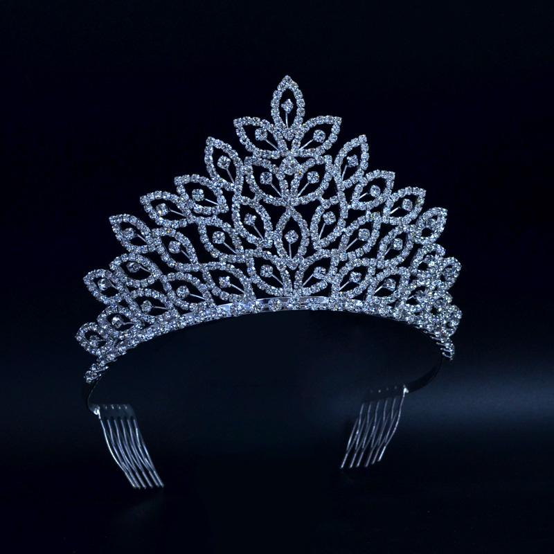 2019 Leaves Medium Beauty Pageant Queen Crown Rinestone