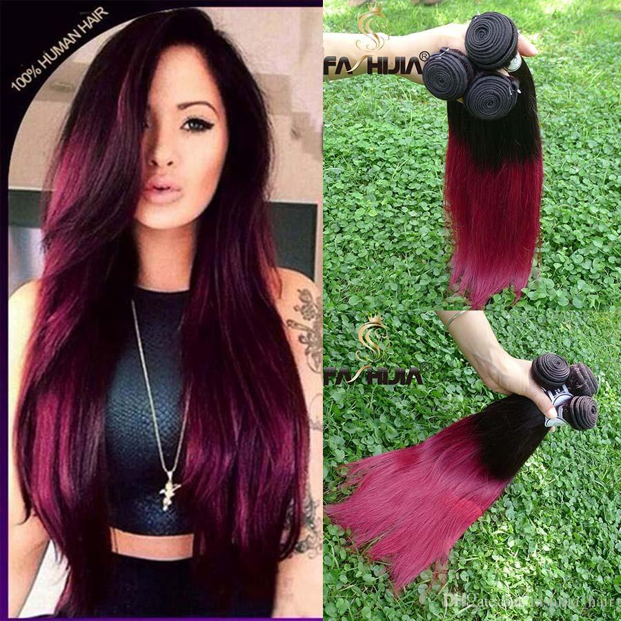 Burgundy Red Ombre Brazilian Hair Bundles Extensions 10 30