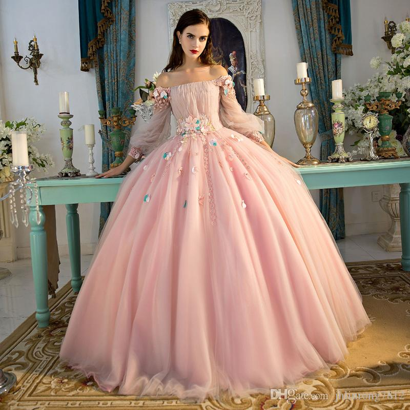 Sweet Pink Princess Sexy Prom Dresses Bateau Romantic Flowers Party ...