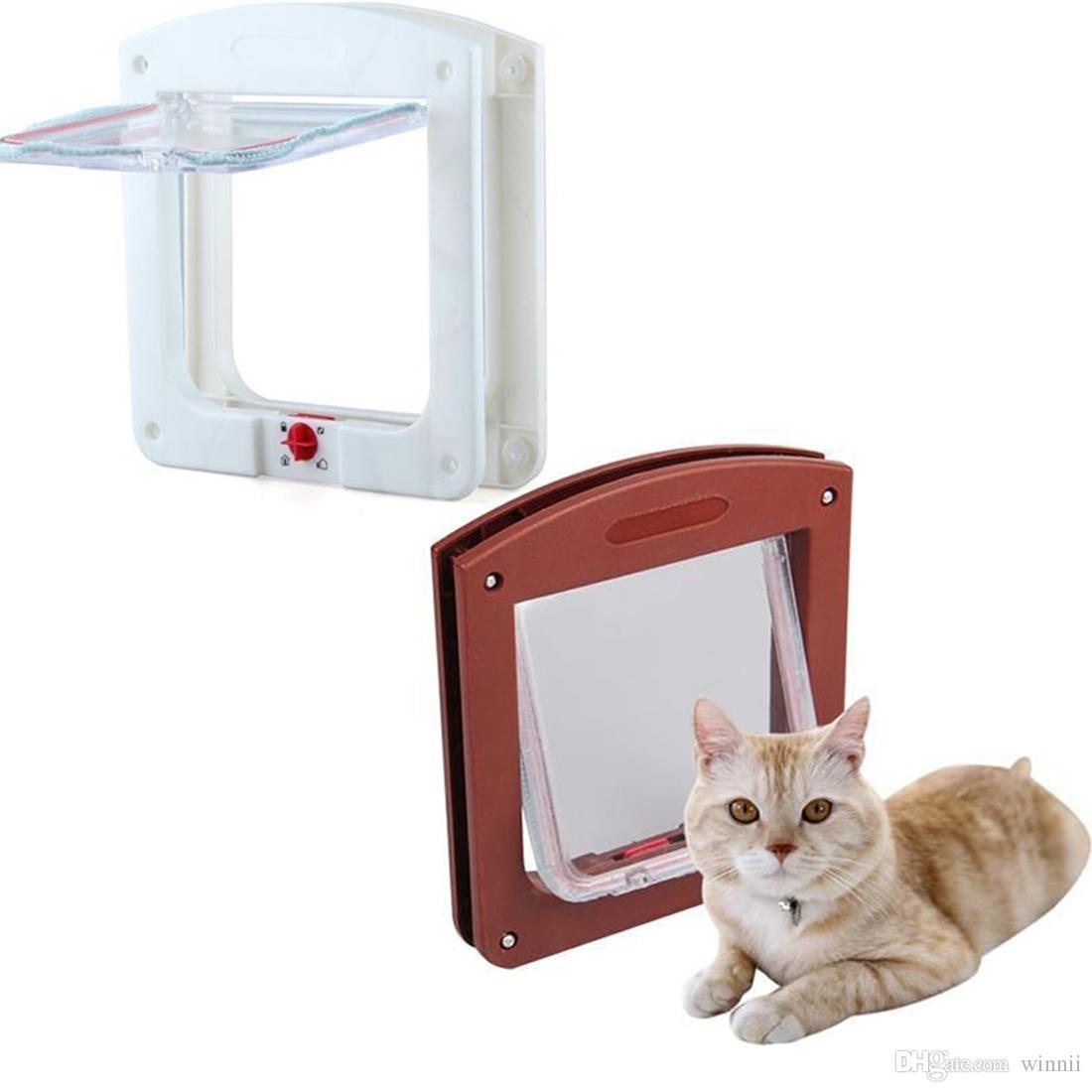 جديد دائم البلاستيك 4 طريقة قفل المغناطيسي القط حيوان أليف الباب صغير الكلب هريرة للماء رفرف الآمن بوابة السلامة الإمدادات