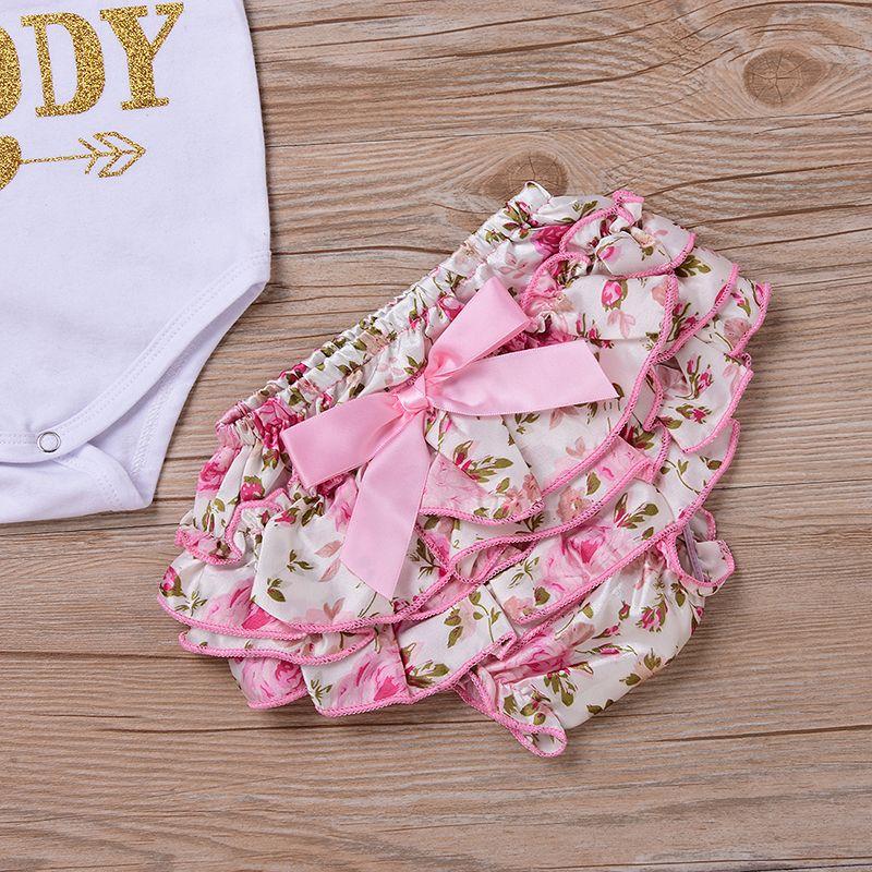 РЕБЁНОК 4шт одежда Комплекты для новорожденных INS Romper + цветочные шорты + оголовье + леггинсы Set I Found My Princess Его зовут Папа K041