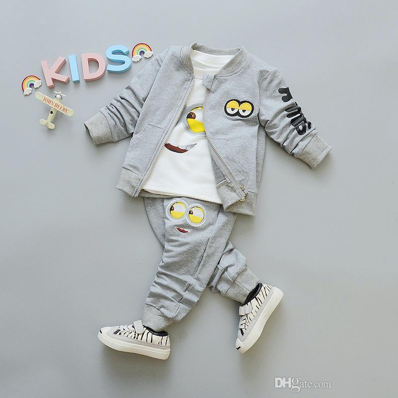 102e04dee 2019 2018 Autumn Baby Girls Boys Minion Suits Infant/Newborn Clothes Sets  Kids COAT+T Shirt+Pants Sets Children Suits From Crazy_baby, $10.86    DHgate.Com