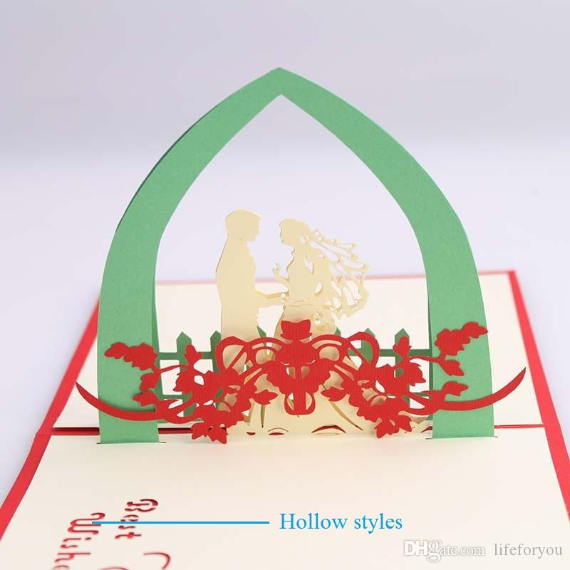 laser cut wedding invitations wedding favors 3d wedding invitations cards customized hollow text pop up cards party favors, with envelope
