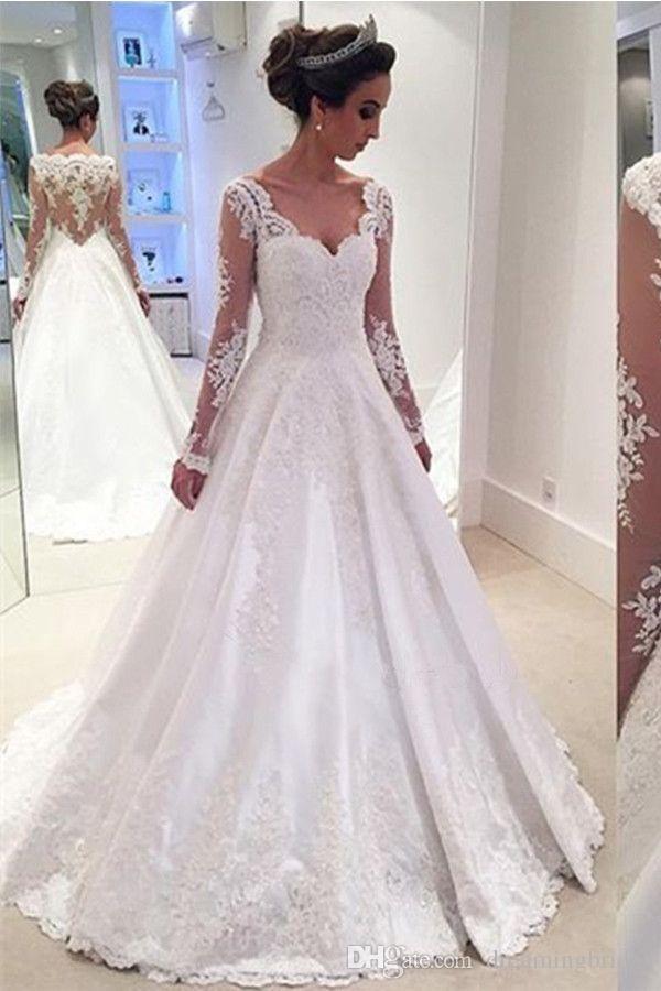 Sexy Long Sleeve Brautkleider 2017 Plus Size Illusion Mieder Brautkleider Spitze Applique schöne Brautkleider