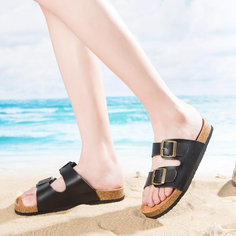78bf9dd721c9e7 Men Women New Beach Cork Flip Flops Slipper Casual Summer Mixed Color Slip  On Sandals Couple Flat Shoe Plus Size Suede Boots Black Boots For Women  From ...