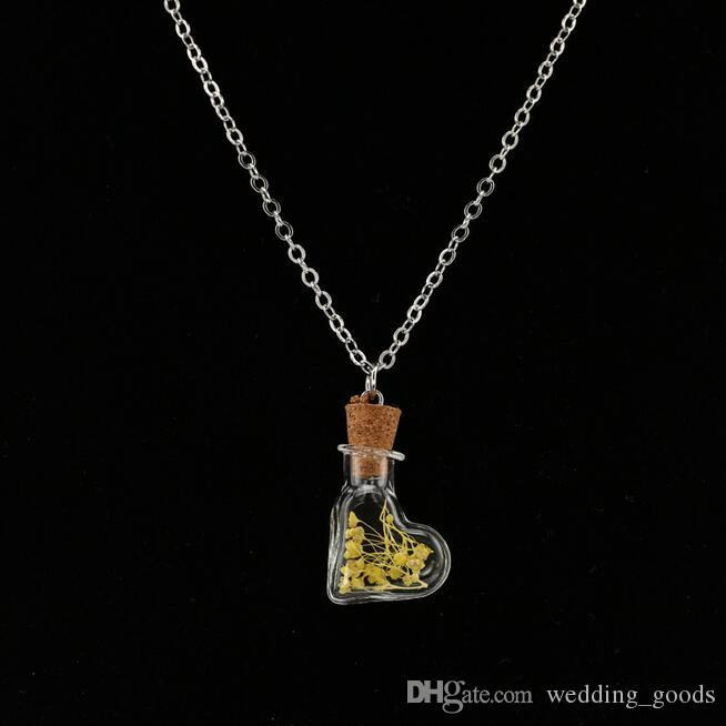 Hot sale Hot items decorated glass cover dry flower necklace drift bottle pendant hand DIY WFN313 with chain a
