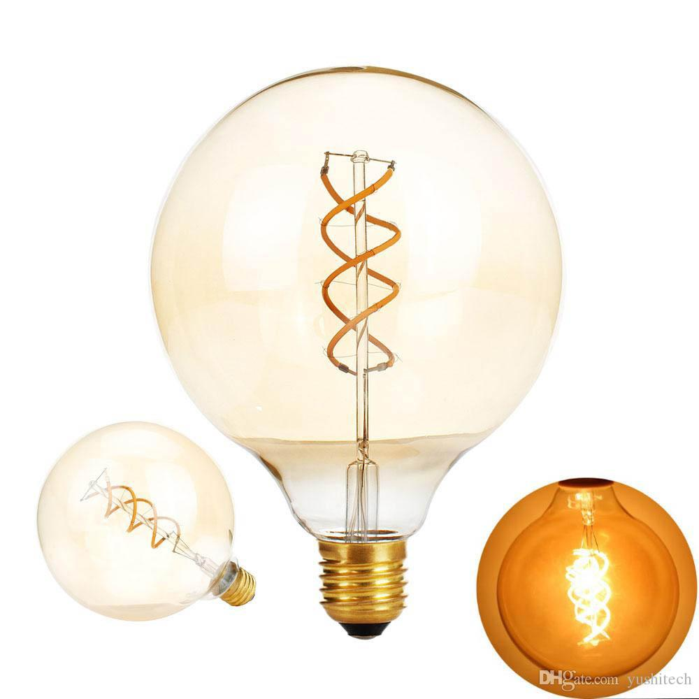 Filament 110v Dimmable Verre G125 Ampoule Ac Ambre Lampe Saving Retro Vintage Lustre Edison E27 Spirale Lumière 220v 2200k Led N08nwmv